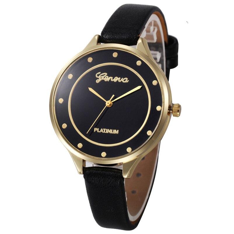 Women Watches Geneva Watch Small Faux Leather Quartz Analog Wrist Watch Ladies Bracelet Watch Hot Sale relogio feminino