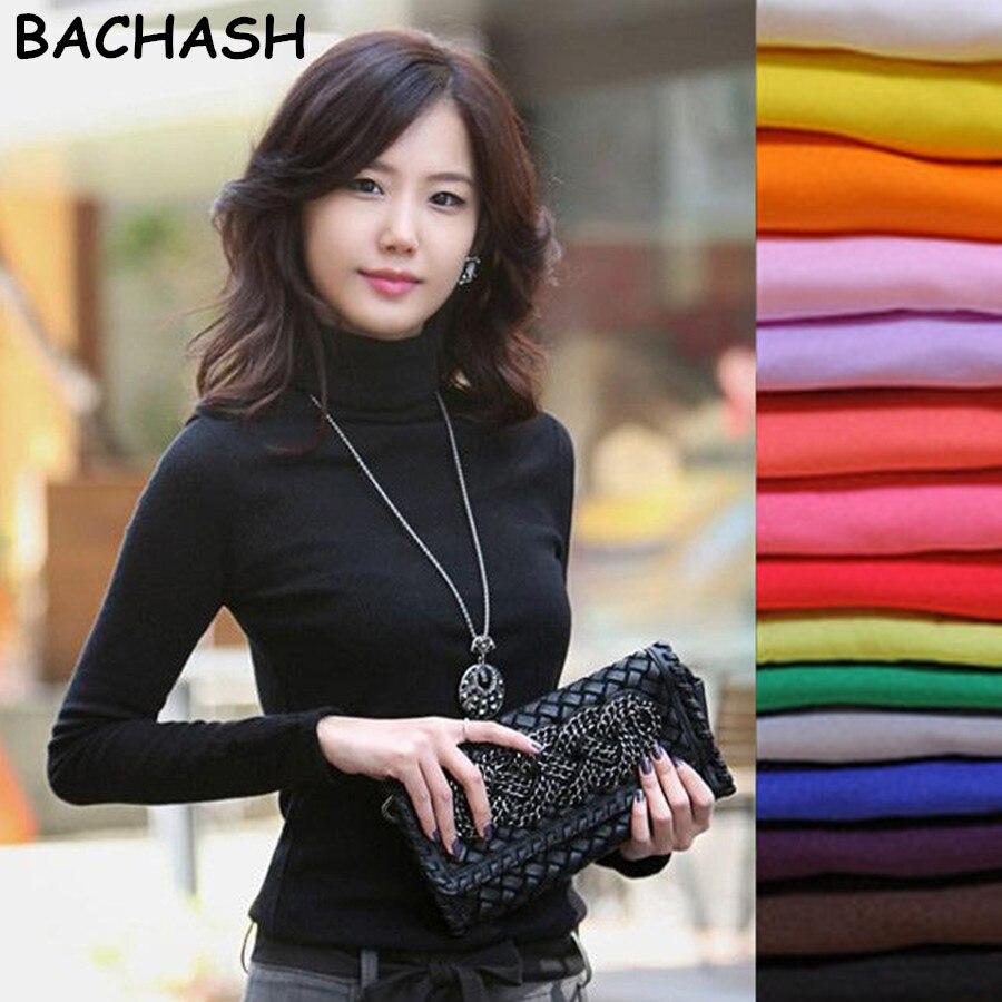 Bathash 2018 alta calidad moda Primavera Otoño Invierno suéter mujeres lana cuello alto jerseys moda mujeres sólido suéteres