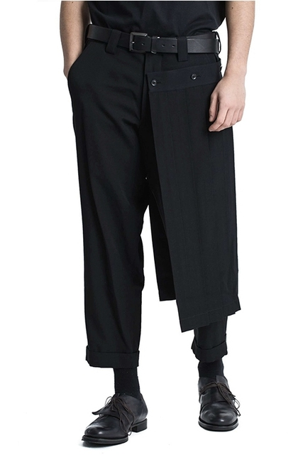 Double men's trouser skirt pants and nine-point tapered bobbin trousers, deconstructed vertical cut yohji spring pants.  S-9XL!! 6