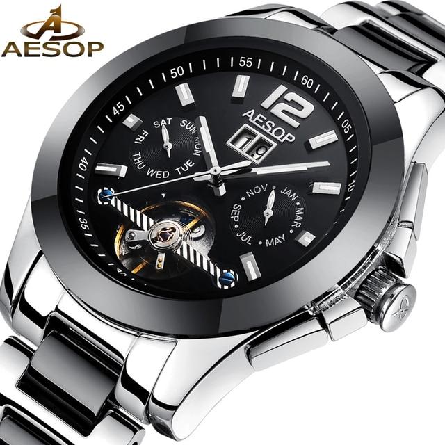 5f182ca14c0 AESOP Moda Relógio Preto Dos Homens de Cristal De Safira De Cerâmica  Mecânico Automático do relógio