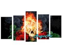 multi pictures combination fire skull diamond painting kit full drill diamond sticker halloween wall art rose rhinestone pasted