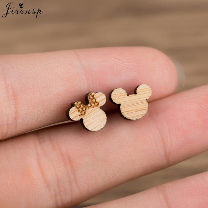 Jisensp New Cute Style Wooden Micky Minnie Stud Earrings Girls Fashion Jewelry Cartoon Statement Earrings for Women Bijoux 2018