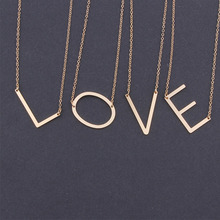 Fashion Gold Color 26 A-Z Letter Name Initial Necklaces For Women Long Big Letter Pendant Necklace fashion letter crystal necklace women pendant zinc alloy pearl sweater necklaces for women long initial fashion necklace jewelry