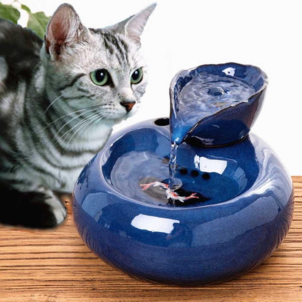 Cat <font><b>Dog</b></font> Automatic Circulation Water Dispenser Fountain Water Basin Drinker <font><b>Dog</b></font> Cat Water dispenser drinking bowls image