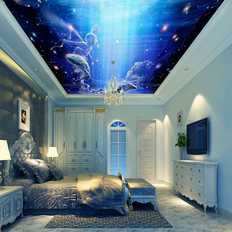 Wallpaper 3d Custom Fantasy Sky Angel Flying Fish Ceiling