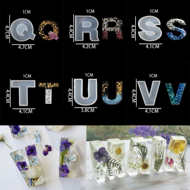 26 Pcs/set Crystal Epoxy English Letters Alphabet Silicone Mould DIY Handmade Jewelry Creative Pendant Model UV Mold