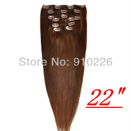 Hot sale,100% Remy human hair ,clip in extensions 15inch,18inch,20inch,22inch,24inch,26inch,30inch,#04