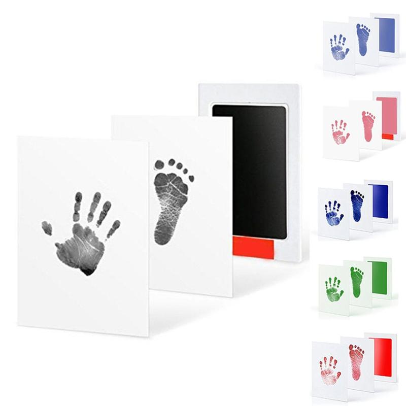New Baby Footprint Paper Handprint Stamp Imprint Cards Non-toxic Baby Infant Ink Pad Inkless Mess Free Baby Souvenir Safe