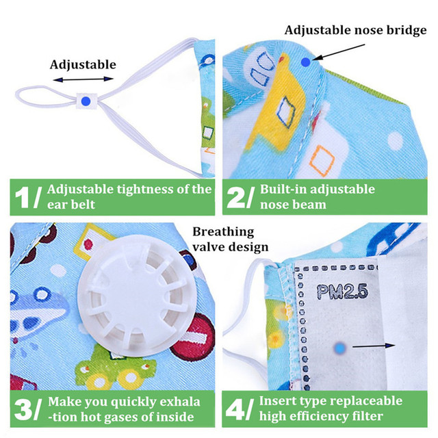 ZWZCYZ Fits 4-15 Year Kids Cotton Cute Cartoon Breathable PM2.5 Anti Pollution N95 Filters Mouth Mask With Respiration Valve
