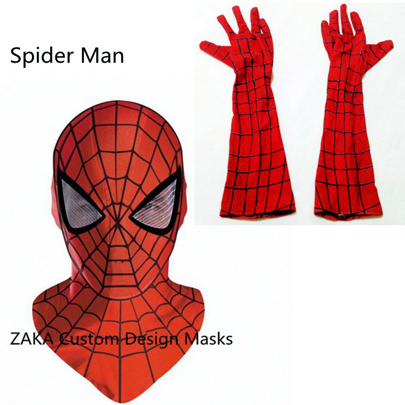 Spider Man Mask Accessories <font><b>spiderman</b></font> <font><b>Gloves</b></font> masks cosplay mascaras halloween party Dark Avengers Carnaval Costume kids <font><b>adults</b></font>