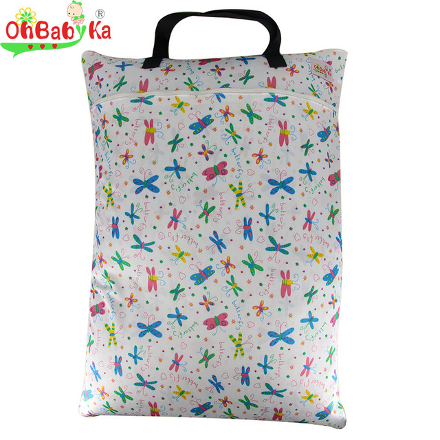 Ohbabyka Large Laundry Hamper Wet Dry Bag Waterproof Dirty Clothes Basket Portable Diaper Bags For