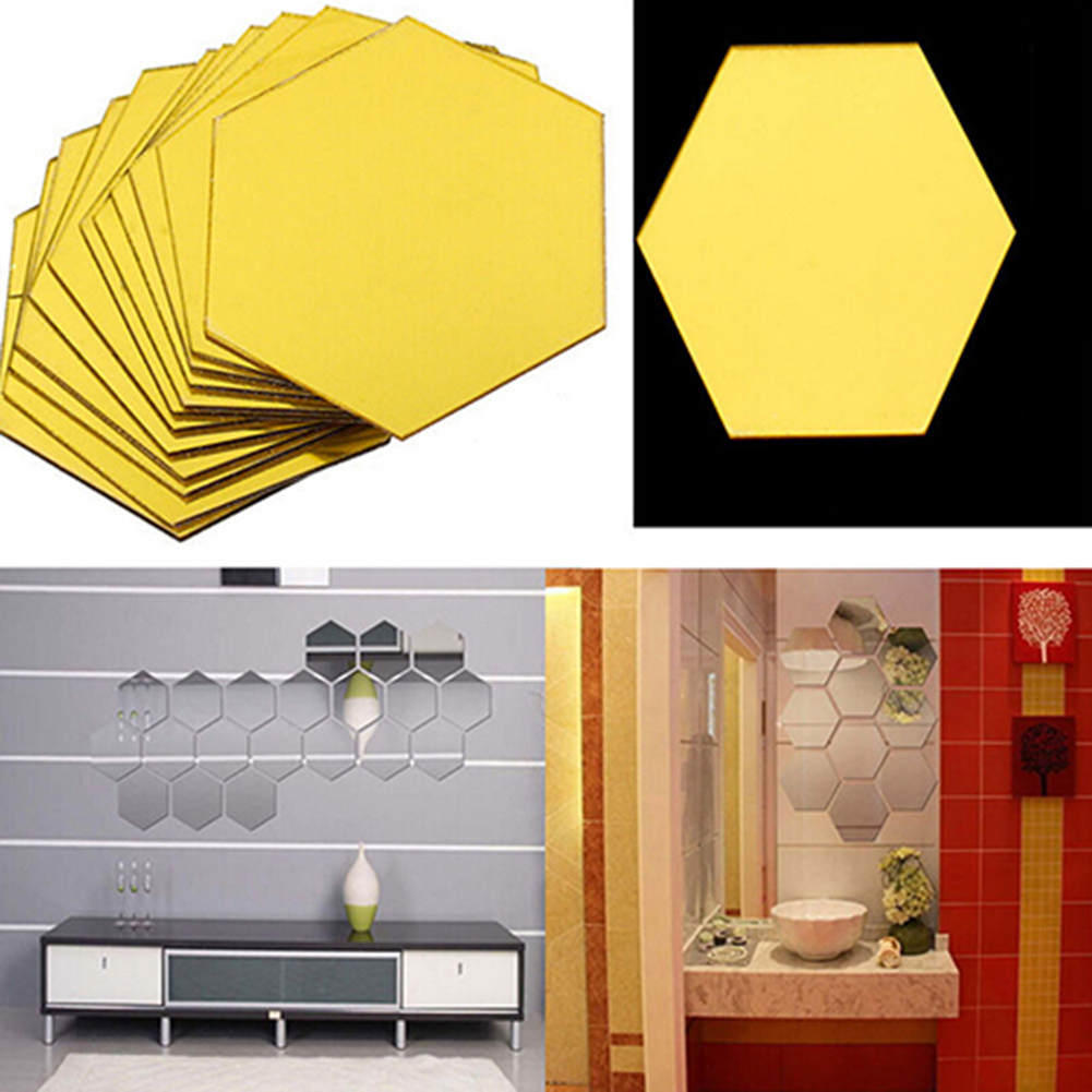12Pcs Mirror Hexagon Removable Acrylic Wall Stickers Art DIY Home ...