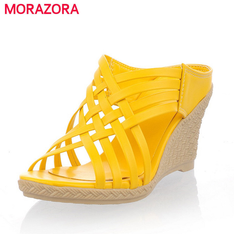 MORAZORA 2018 ladies slippers Gladiator high heels wedges sandals shoes women weaving TPR bottom comfortable lady shoes
