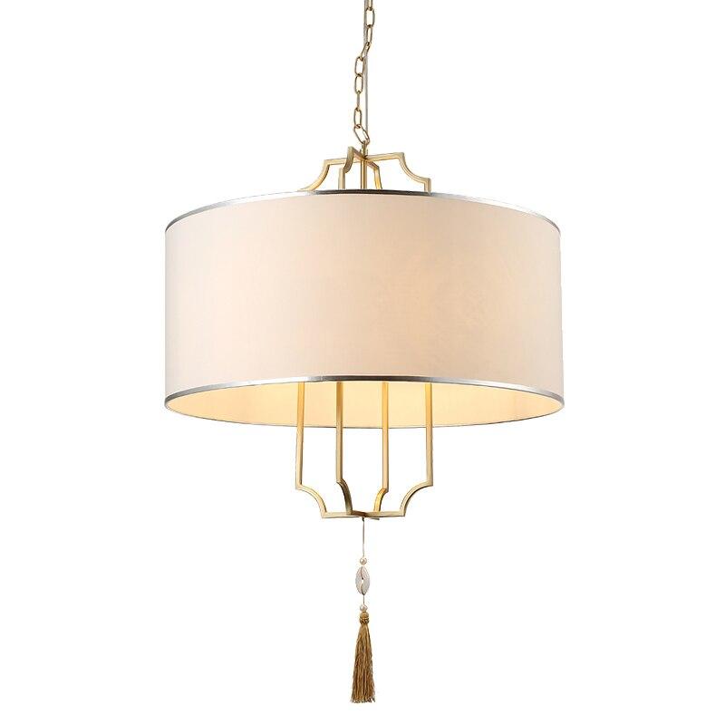 Современный простой настоящий латунный светодиодный подвесной светильник тканевый абажур для гостиной спальни E14 Светодиодный светильник