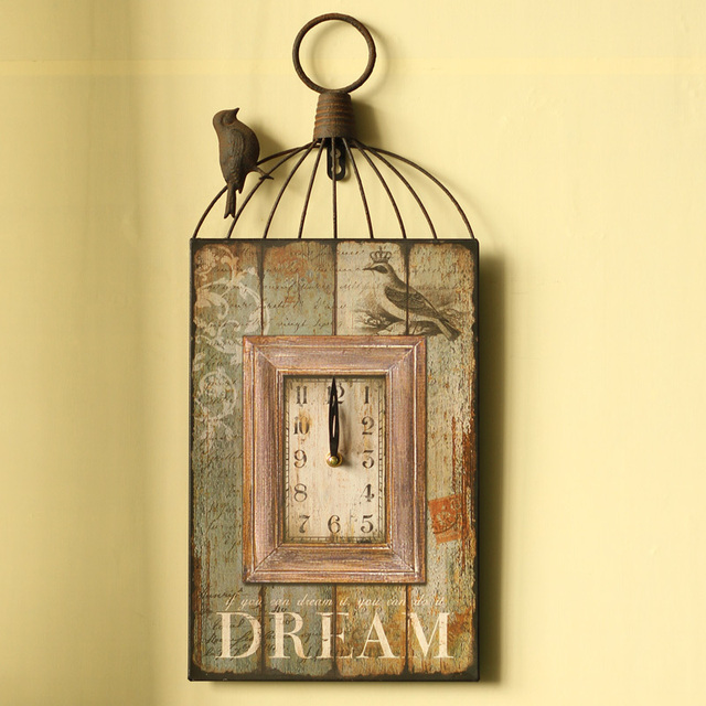 Home Decor Wall Birds Cage Shaped Wall Clock Antique Style Wood and ...