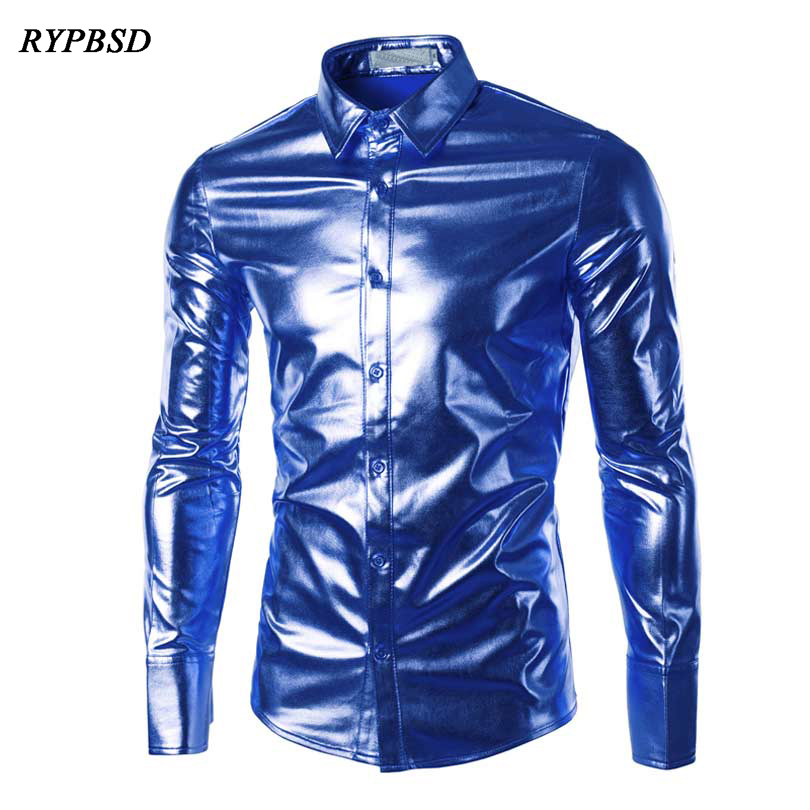 Night club Men Shirt Chemise Homme 2018 Button Down Fashion Metallic Shiny Party Sliver Slim Fit Long Sleeve Dress Shirt Men 3XL