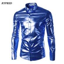 Night club Men Shirt Chemise Homme 2017 Button Down Fashion Metallic Shiny Party Sliver Slim Fit Long Sleeve Dress 3XL