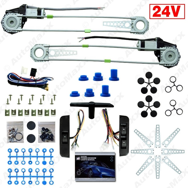 New DC24V Car/Truck Front 2-Doors Electric Power Window Kits with Switches and Harness #J-3844