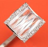 Đồ nư Hình Chữ Nhật Màu Trắng Pha Lê 925 Sterling Silver Thời Trang & Hợp Thời Trang của Phụ Nữ Jewelry Nhẫn Kích 6 7 8 9 S0894