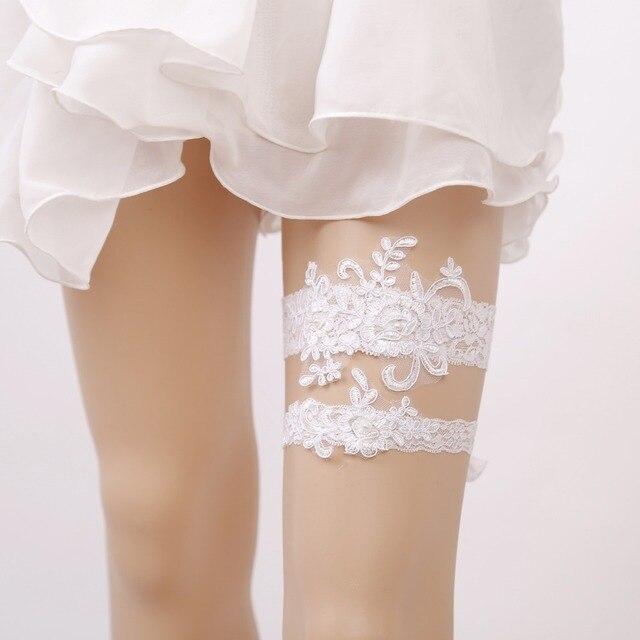 2 stks/set kant bruid kousenband parel wit vrouwen sexy garters set
