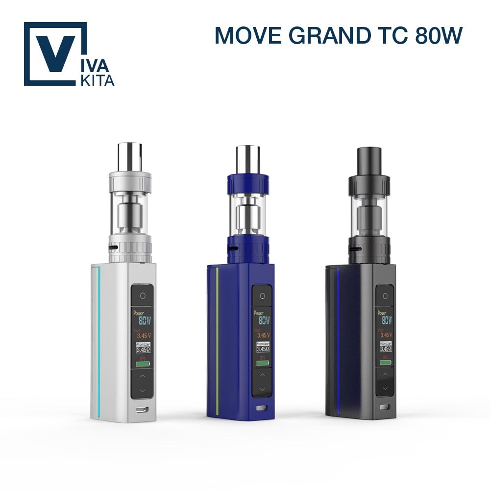 ФОТО Vivakita Move Grand TC 80W Color OLED Screen Box Mod  1W -80W electronic box mod 3ml atomizer e cigarette kit