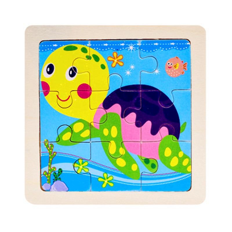Мини Размер 11*11 см детская игрушка деревянная головоломка деревянная 3D головоломка для детей Детские Мультяшные животные/дорожные Пазлы обучающая игрушка - Цвет: Небесно-голубой
