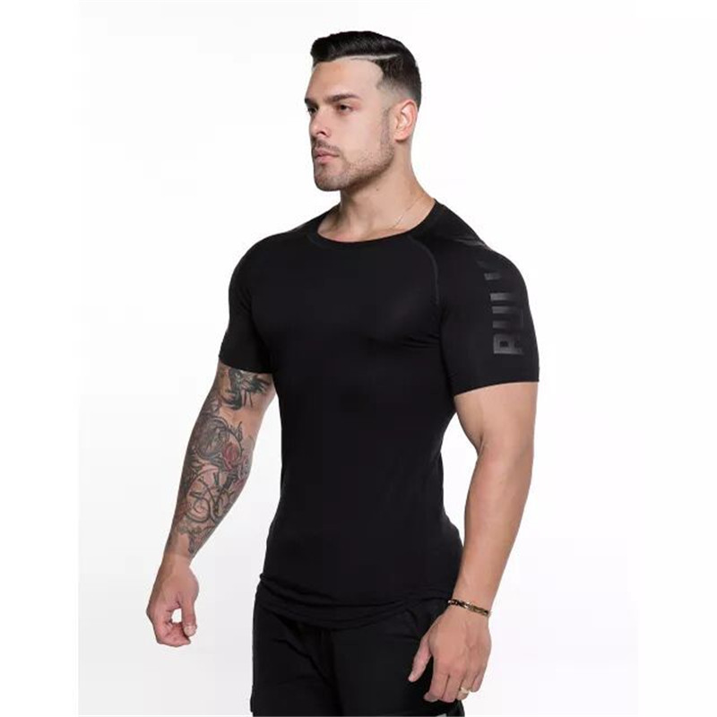 Image 5 - GymRagz 2019 New Cotton T Shirt Men Breathable T Shirt Homme Gyms T shirt Men Fitness Summer Printing Gyms Tight Top Black-in T-Shirts from Men's Clothing