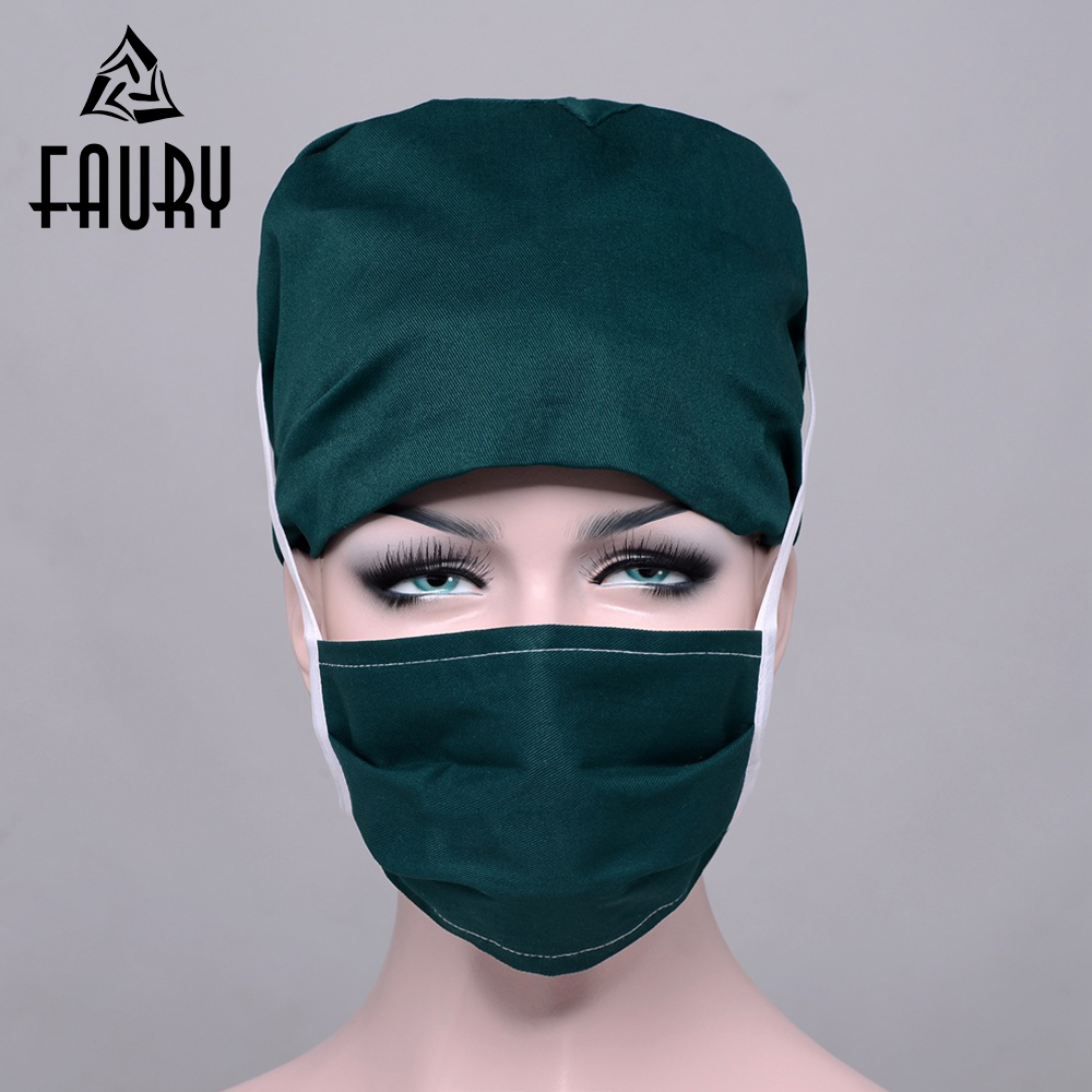 2018 New Lab Hospital Unisex Medical Surgical Cap 100% Cotton Printed Medical Scrub Operation Gourd Caps Adjustable One Size
