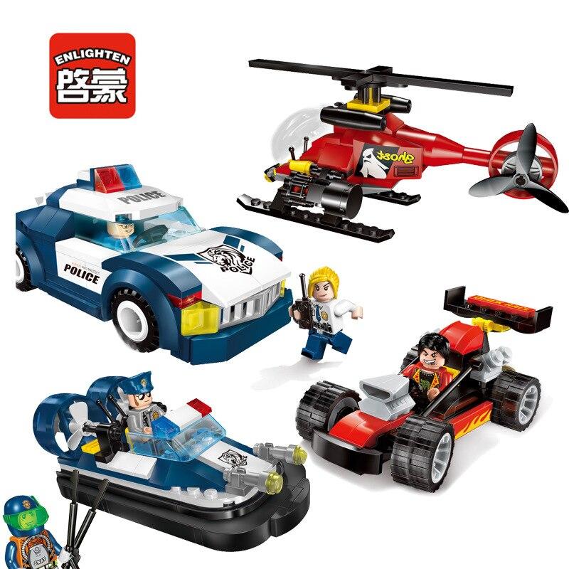 ENLIGHTEN 1901-1904 Police Race Car Speedboat Helicopter Building Block Bricks DIY Educational Toys For Children