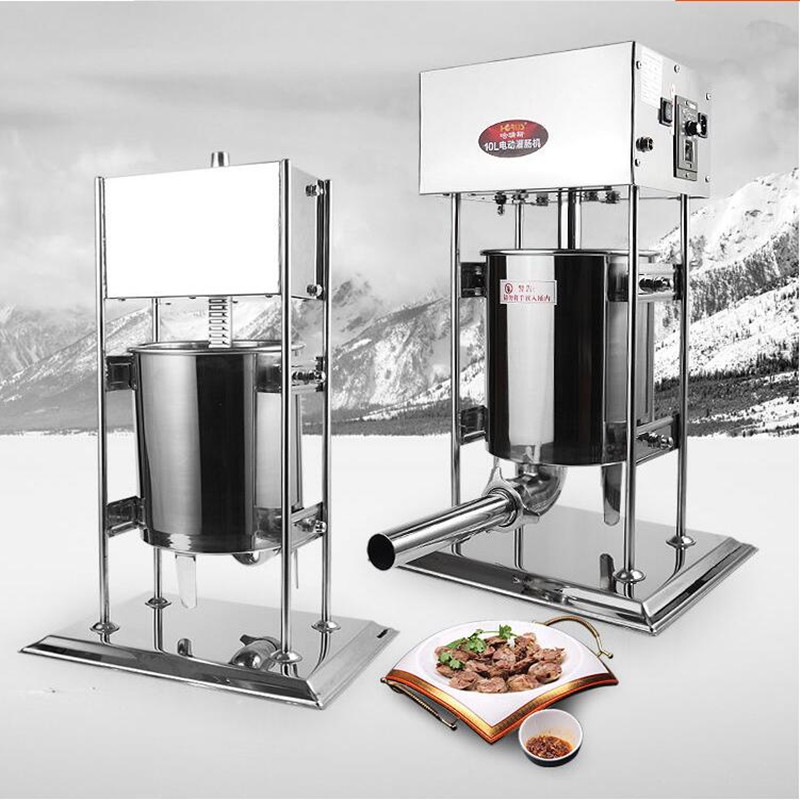 220V Electric Sausage Maker/Manual Sausage Maker Stainless Steel Vertical Sausage Machine 3L/5L/7L/10L/15L Commercial & Home commercial stainless steel churro machine 25l electric fryer manual spanish churros maker 4 nozzles