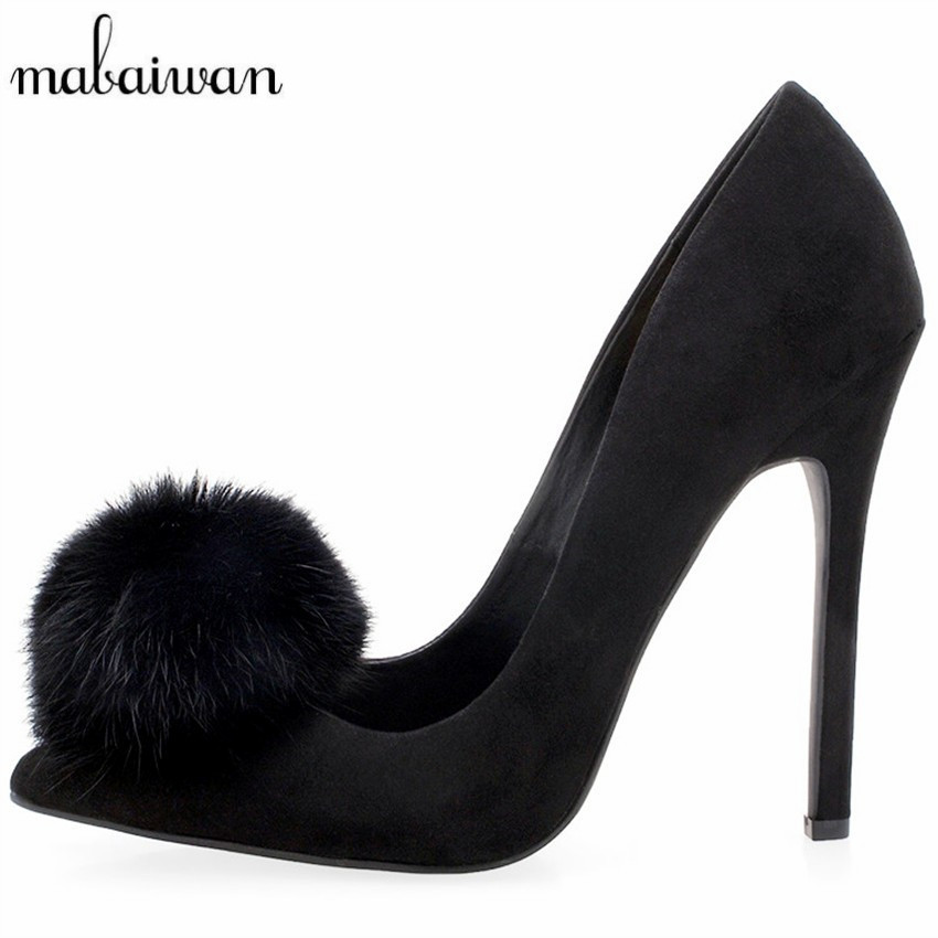 Sexy Black Fur Decor Women Pumps Suede High Heels Pom Pom Wedding Dress Shoes Woman Pointed Toe Zapatos Mujer Valentine Shoe мышь cougar 250m проводная оптическая игровая для pc черная