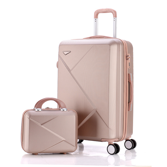 6a38c9ec6c0b 14 24inches light abs hardside travel luggage set for male and  female,pink/purple/red married/white/golden/silver/blue travelbag-in  Luggage Sets from ...