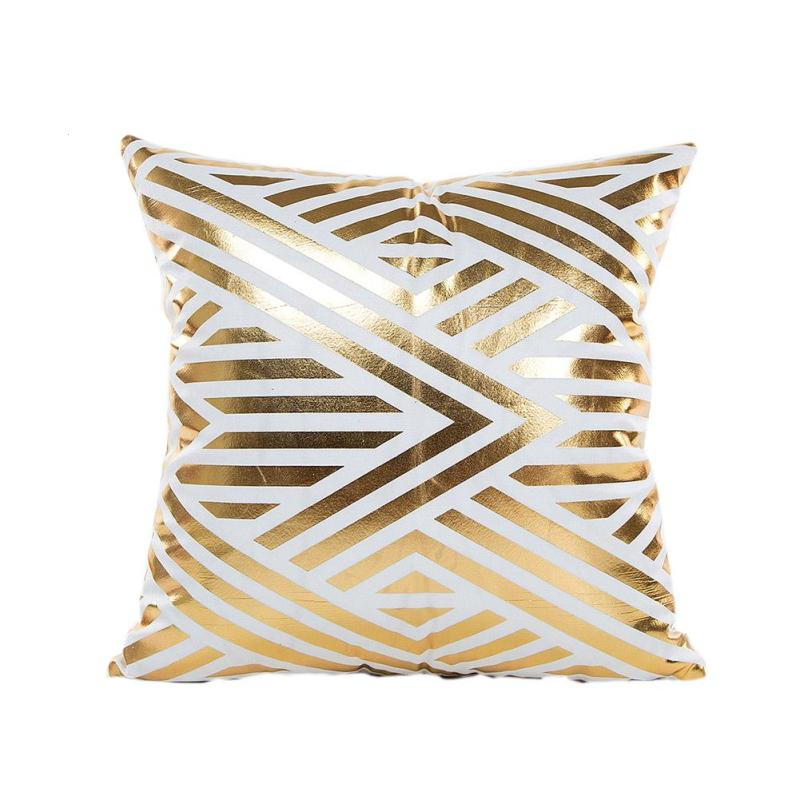 Bronzing Cushion Cover Polyester Printed Geometric Pineapple Gold Pillow Cover Decorative Square Throw Pillow Case Car Seat