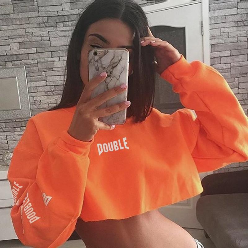 Women Letter Print Autumn Sweatshirts Women 2019 Crop Top Fashion Slim Orange Streetwear Female Sweatshirt Harajuku Moletom
