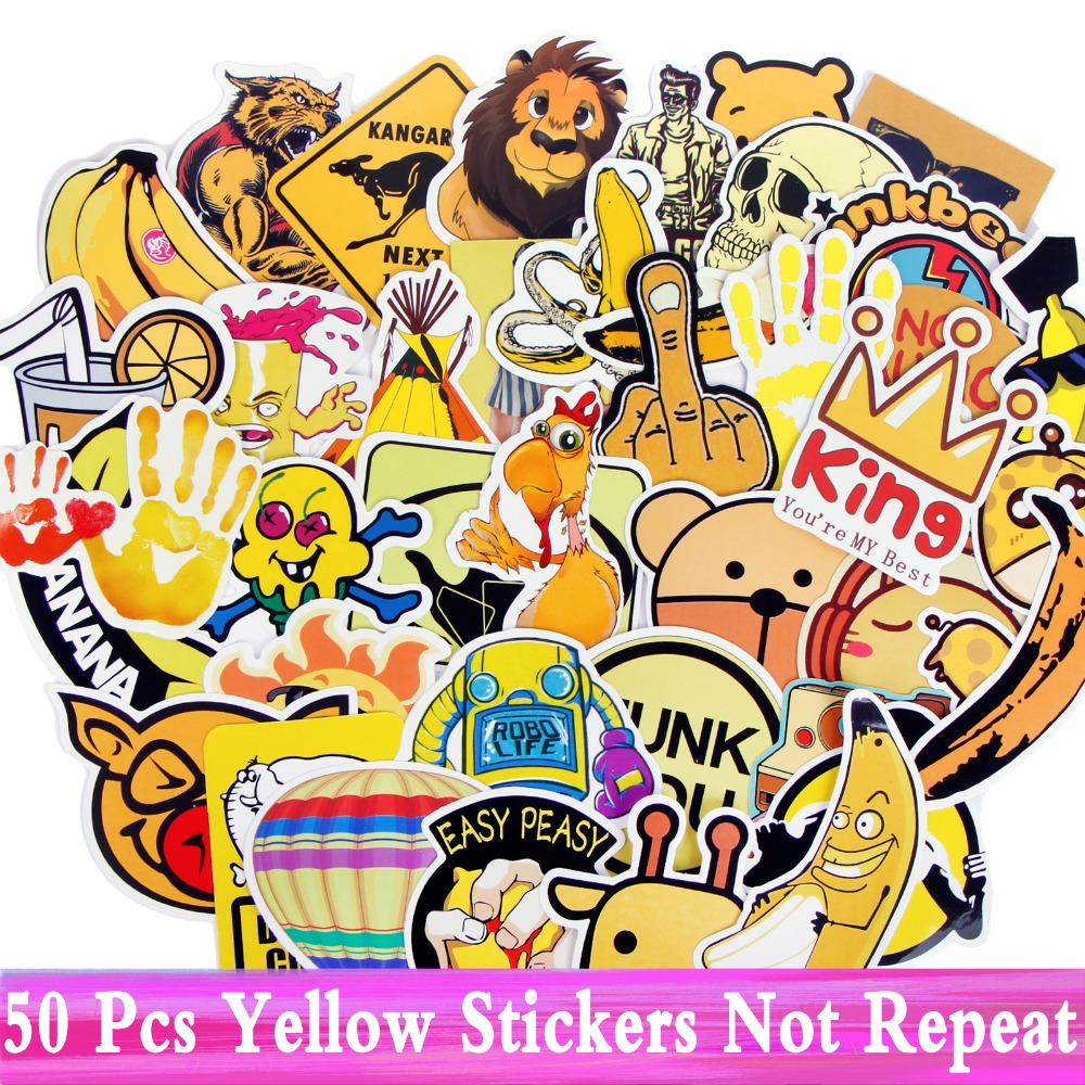 50 Pcs Yellow Stickers Mixed JDM Style Decor Home Sticker Car Laptop Phone Kids Skateboard Motorcycle Fridge Luggage DIY Vinyl
