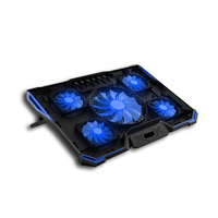 USB Powered Slim Flat Notebook Laptop Cooler Cooling Pad Radiator With LED Five Fans For Above