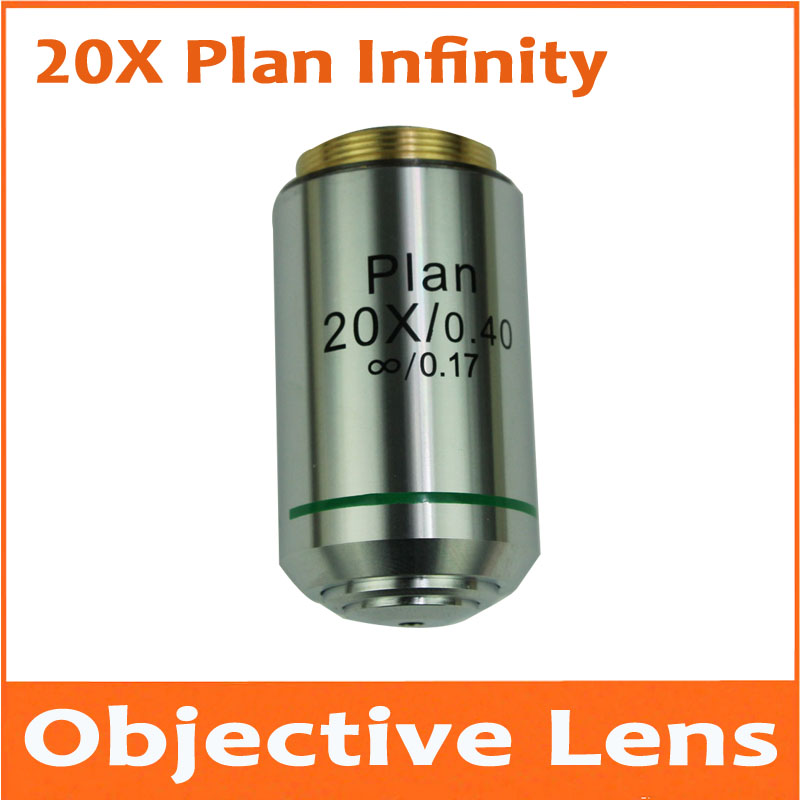 1pc 20X 195 Metal Infinity Plan Achromatic Objective Lens Educational Olympus Biomicroscope Biological Microscope 20.2mm 195 universal 1x infinity objective lens for biological microscope