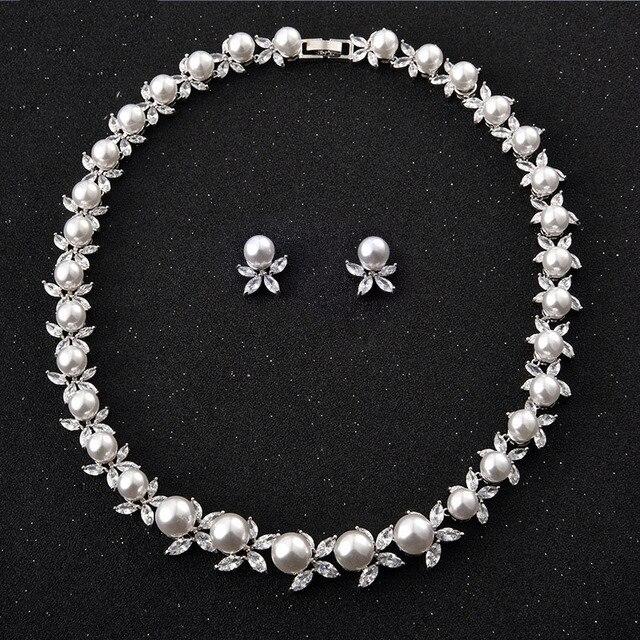 fe83e62ef29c2 US $36.6 |NEW Bridal Jewelry Sets Cubic Zirconia CZ For Women Pearls Flower  Wedding Choker Necklace Earring Jewelry Set-in Jewelry Sets from Jewelry &  ...