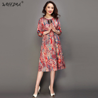 WREEIMA 2018 Plus Size Dresses Real Silk Dress Women Summer Vintage Tassel Printing Loose Top Quality Three Quarter Sleeves HK32