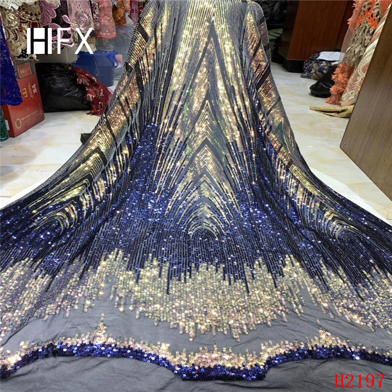 HFX 2019 hot selling high quality African sequins lace fabric laser embroidered lace fabric for party dress free shipping H2197-in Lace from Home & Garden    1