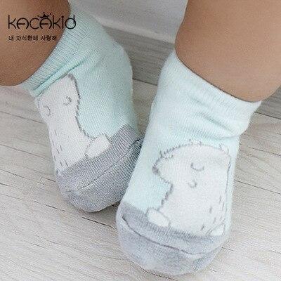 Kacakid spring kids cute cotton socks warm baby shoe socks, childrens favorite polar bear anti-skid socks, 2-4y