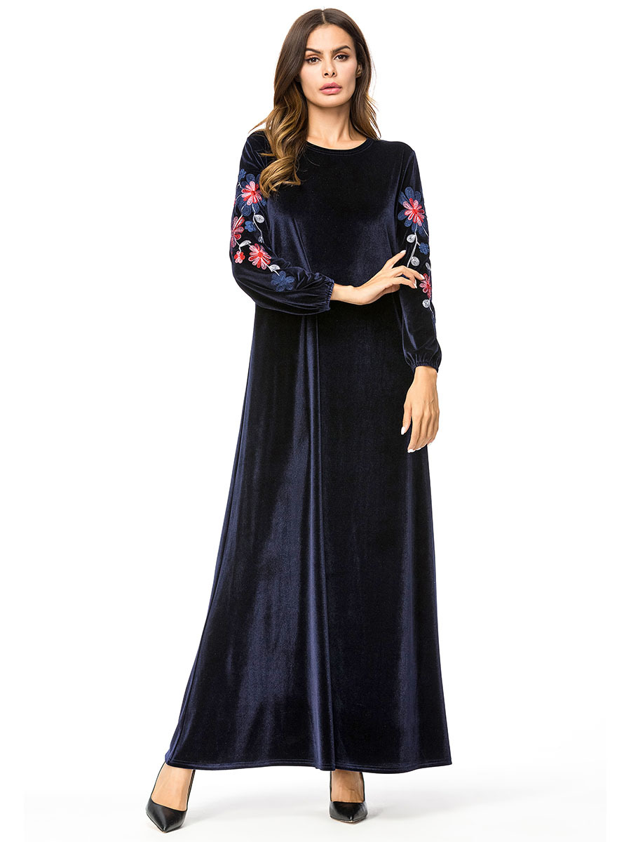 45b5dd4d79113 Casual Maxi Dress Green Embroidered 4XL Long Sleeve Moroccan Kaftan ...