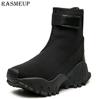 RASMEUP Women's Platform Martin Boots Elastic Chunky Motorcycle Boots For Women 2018 Fashion Lace up Combat boots Ladies Shoes