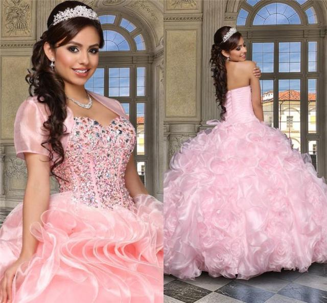 8fbb6d55917 2016 Crystal Pink Quinceanera Dresses Beads Sweetheart Free Short Jackets Lace  Up Princess Ball Gowns Fashion dress for 15 year