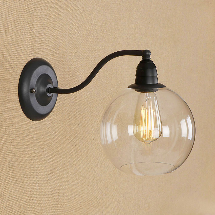 Nordic Vintage glass wall lamp dia 20cm clear glass lampshade Industrial Wall Sconce Home Bedroom bedside Light lighting Fixture