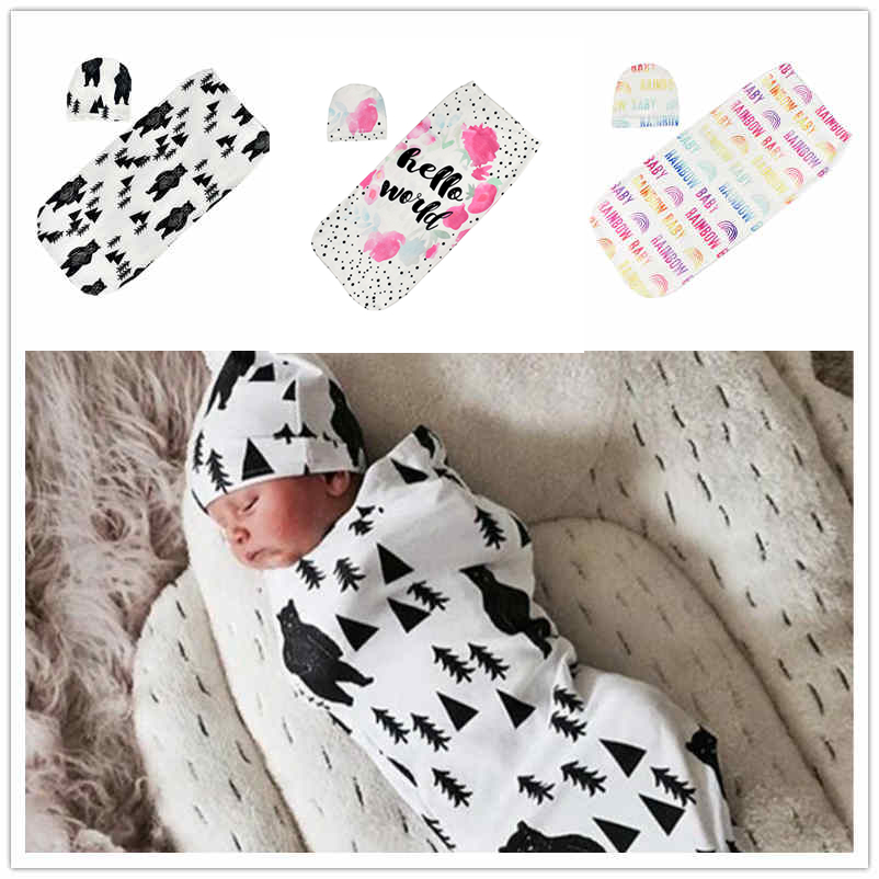 Newborn Baby Sleeping Bag Cute Cartoon Animal Printed Swaddle Blanket Sleeping Swaddle Muslin Wrap+Hat 2pcs New Born Set