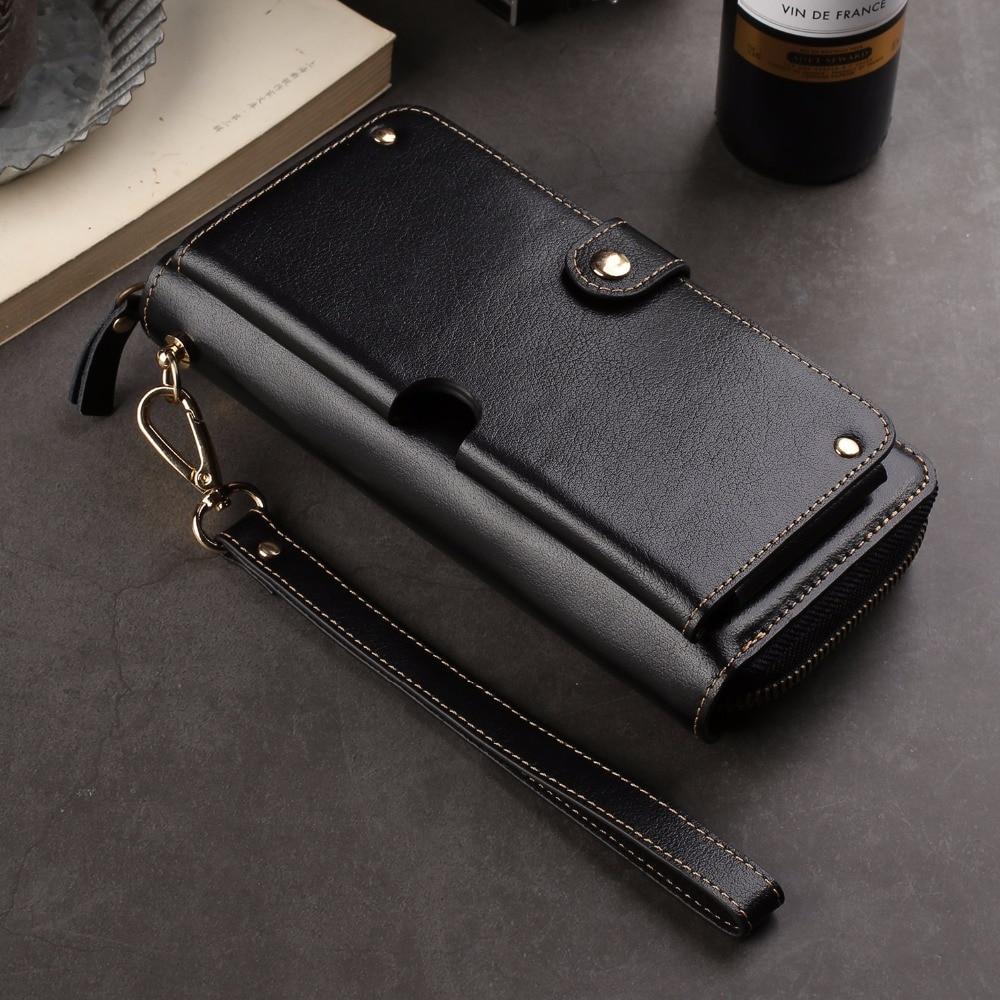 Véritable portefeuille en cuir de vache anneau de doigt ceinture étui de téléphone portable pochette pour Sony Xperia XZ2/XA2 Ultra/L2/R1 (Plus)/XA1 Plus/XZ1