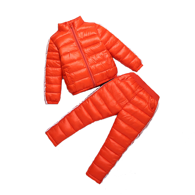 2017 Casual Boy Girl Winter Windproof Cotton-Padded Jacket Suit+Pants 3-11 Age Kids Outerwear Warm Outfits Child Down jacket цена