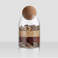 Creative Grains Storage with Wooden Cover Tank Seal Cork Household Tea Storage Bottle Glass Jar Sealed Jar Kitchen supplies