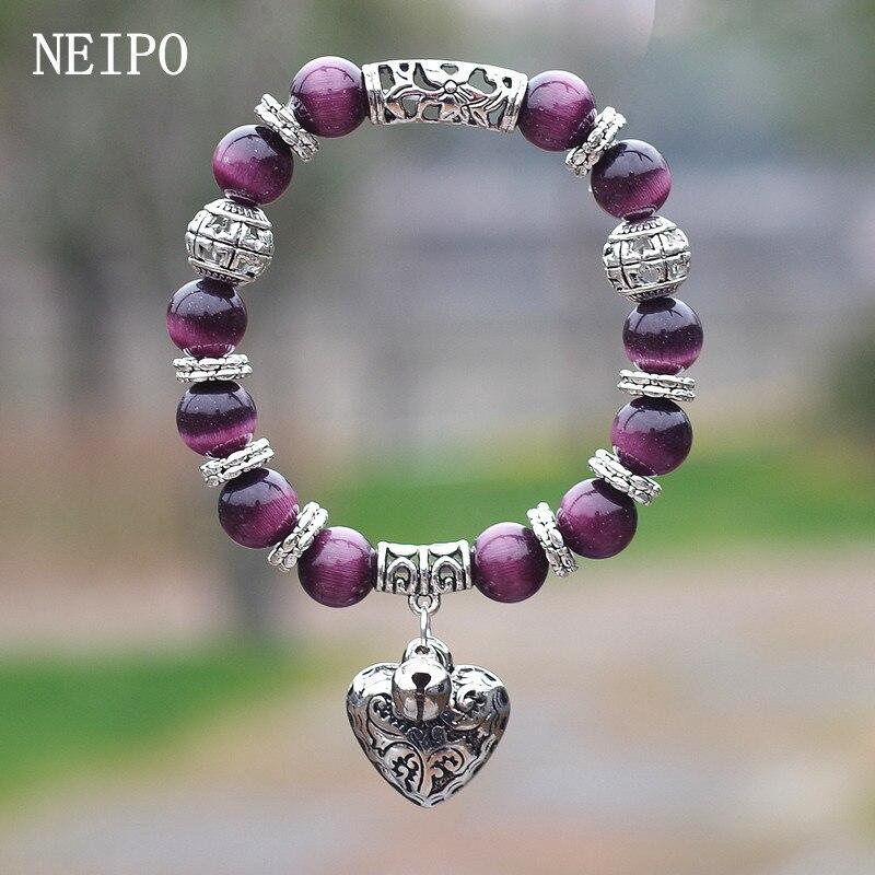 NEIPO, модные ювелирные изделия, 10 мм, опаловые бусины, браслет, сделай сам, колокольчик, сердце, кулон, браслет для женщин, подруг, подвески, браслет, подарок